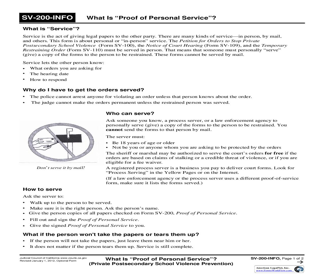 What Is Proof Of Personal Service (Private Postsecondary School Violence Prevention) {SV-200-INFO}   Pdf Fpdf Doc Docx   California