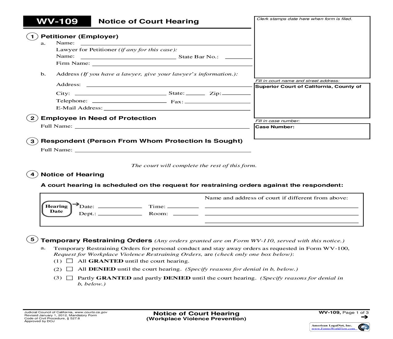 Notice Of Court Hearing (Workplace Violence Prevention) {WV-109}   Pdf Fpdf Doc Docx   California