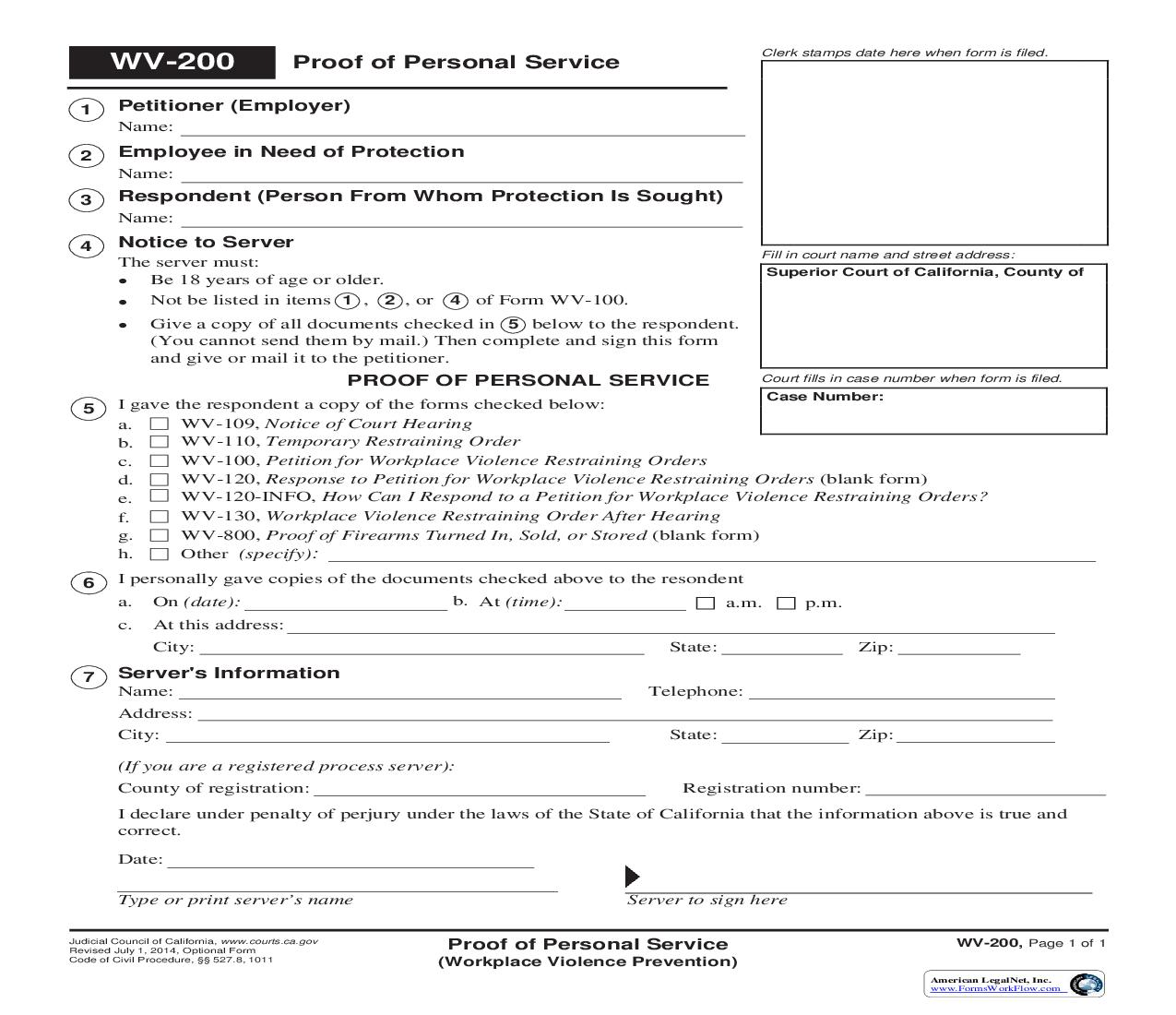 Proof Of Personal Service (Workplace Violence Prevention) {WV-200}   Pdf Fpdf Doc Docx   California