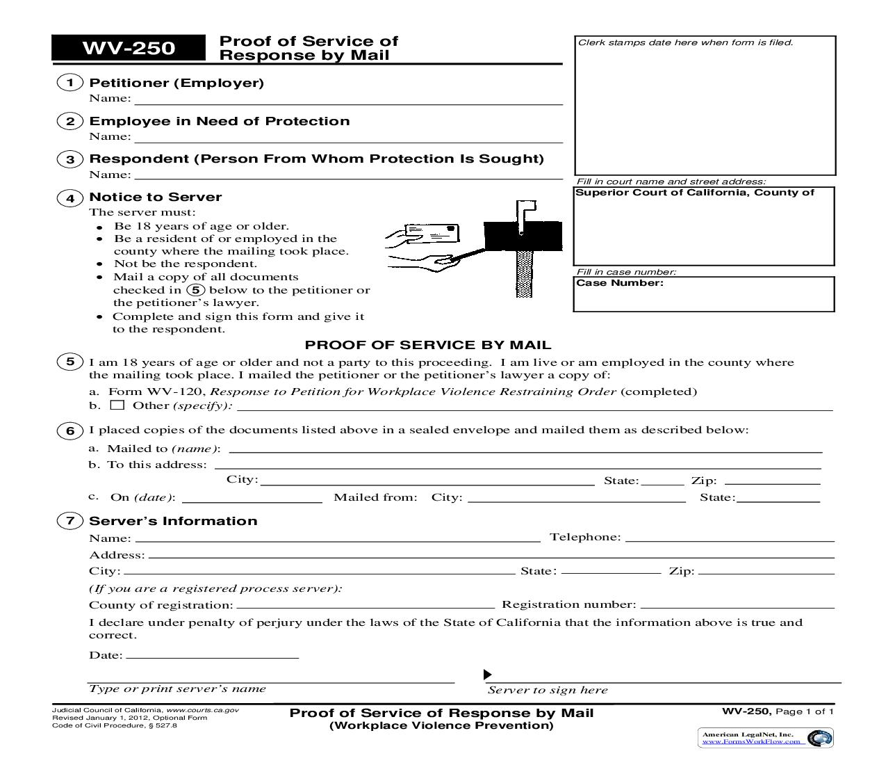 Proof Of Service Of Response By Mail (Workplace Violence Prevention) {WV-250} | Pdf Fpdf Doc Docx | California
