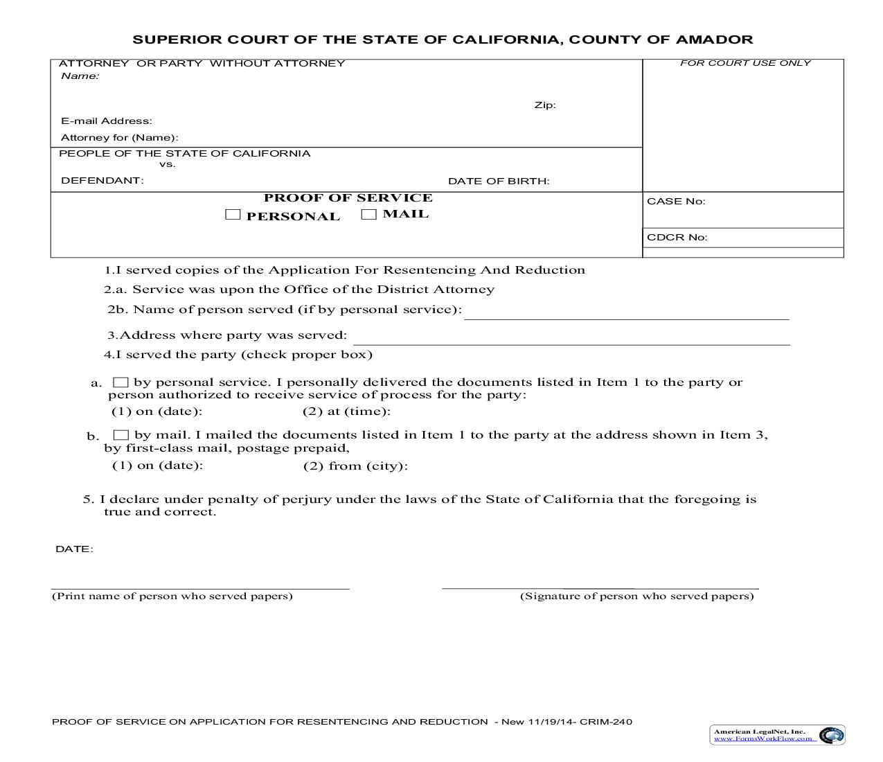 Proof Of Service On Application For Resentencing And Reduction {CRIM-240}   Pdf Fpdf Doc Docx   California
