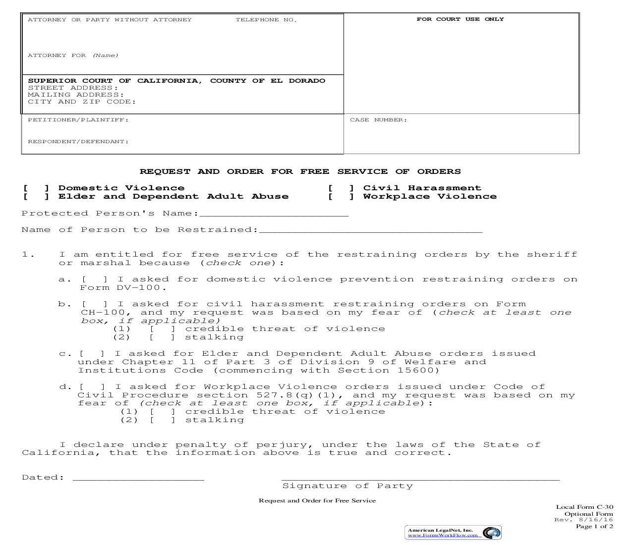 Request And Order For Free Service Of Orders {C-30} | Pdf Fpdf Doc Docx | California