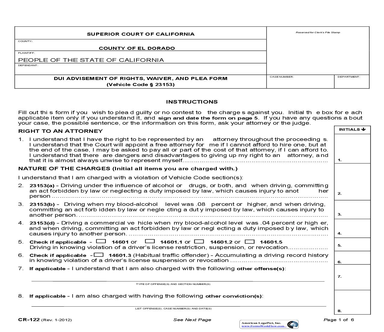 DUI Advisement Of Rights Waiver And Plea Form (With Injury) {CR-122} | Pdf Fpdf Doc Docx | California