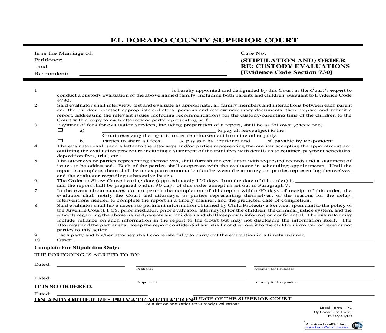 Stipulation And Order Re Custody Evaluation {F-71} | Pdf Fpdf Doc Docx | California
