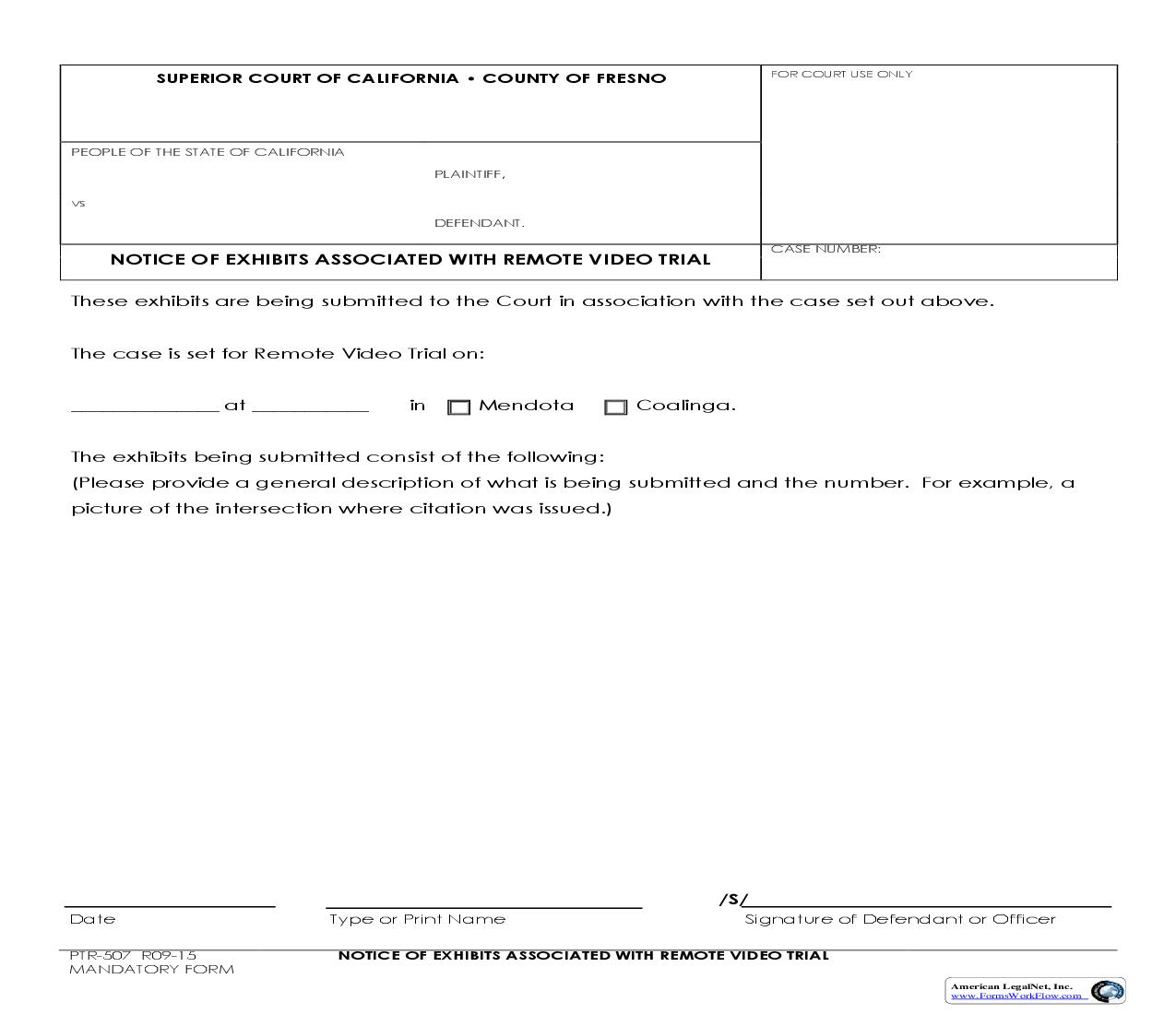 Notice Of Exhibits Associated With Remote Video Trial {PTR-507}   Pdf Fpdf Doc Docx   California