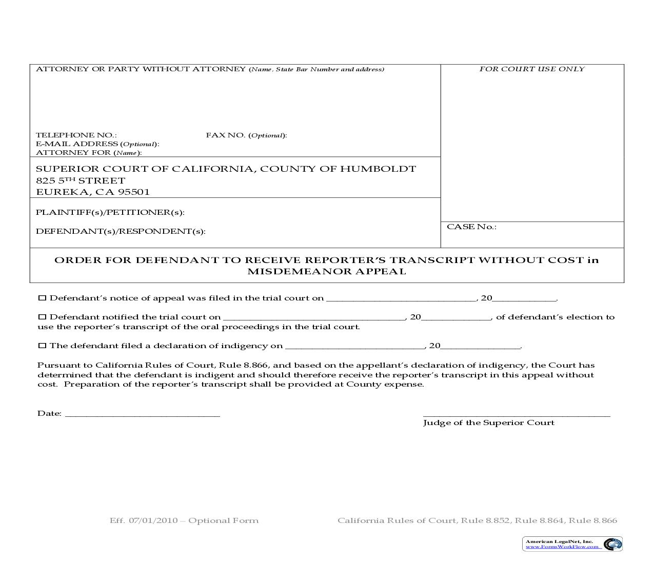 Order For Defendant To Receive Reporters Transcript Without Cost In Misdemeanor Appeal | Pdf Fpdf Doc Docx | California