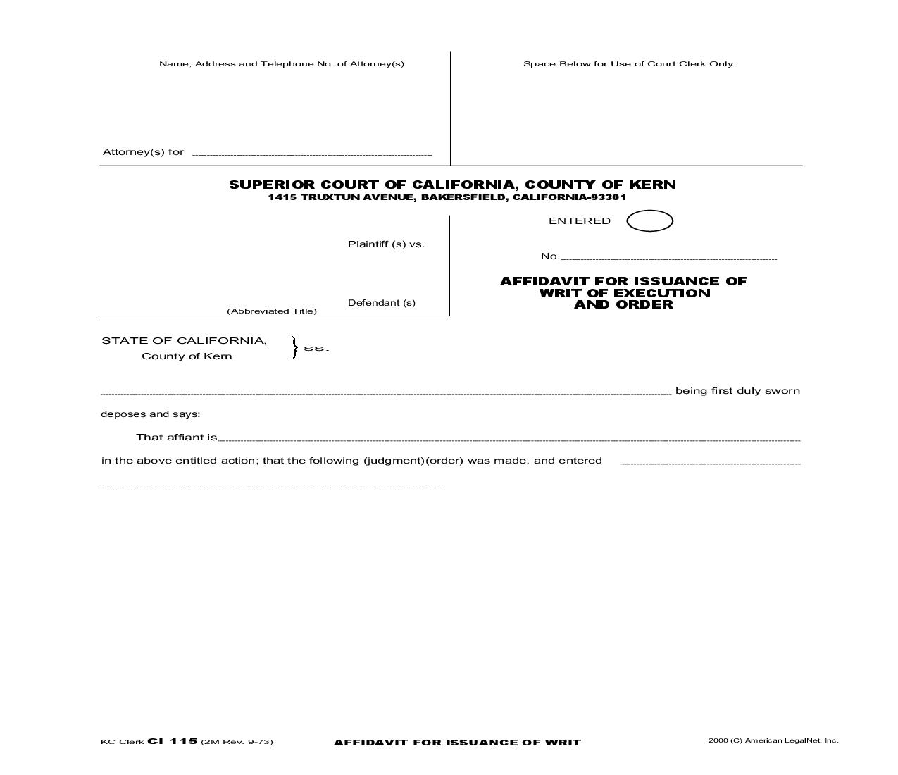 Affidavit For Issuance Of Writ Of Execution And Order {Ci 115} | Pdf Fpdf Doc Docx | California