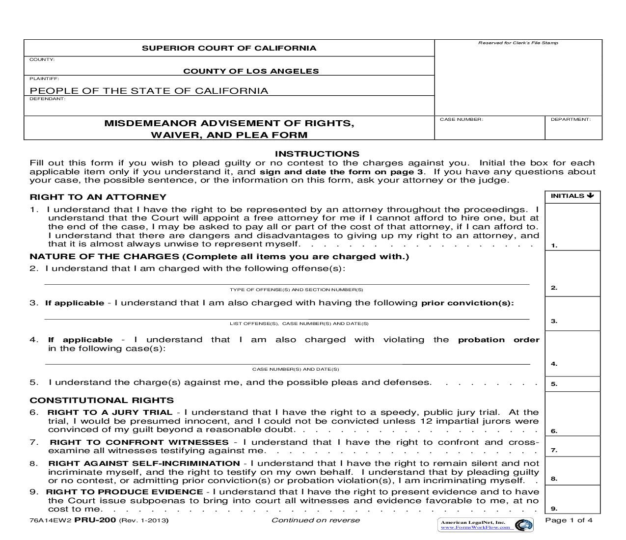 Misdemeanor Advisement Of Rights Waiver And Plea Form (Los Angeles) {PRU-200} | Pdf Fpdf Doc Docx | California
