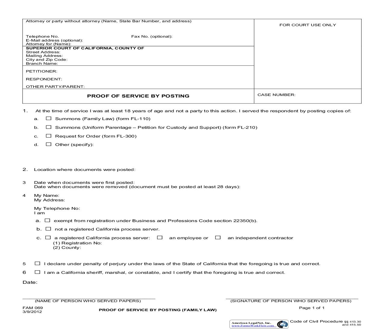 Proof Of Service By Posting (Family Law) {FAM 069} | Pdf Fpdf Doc Docx | California