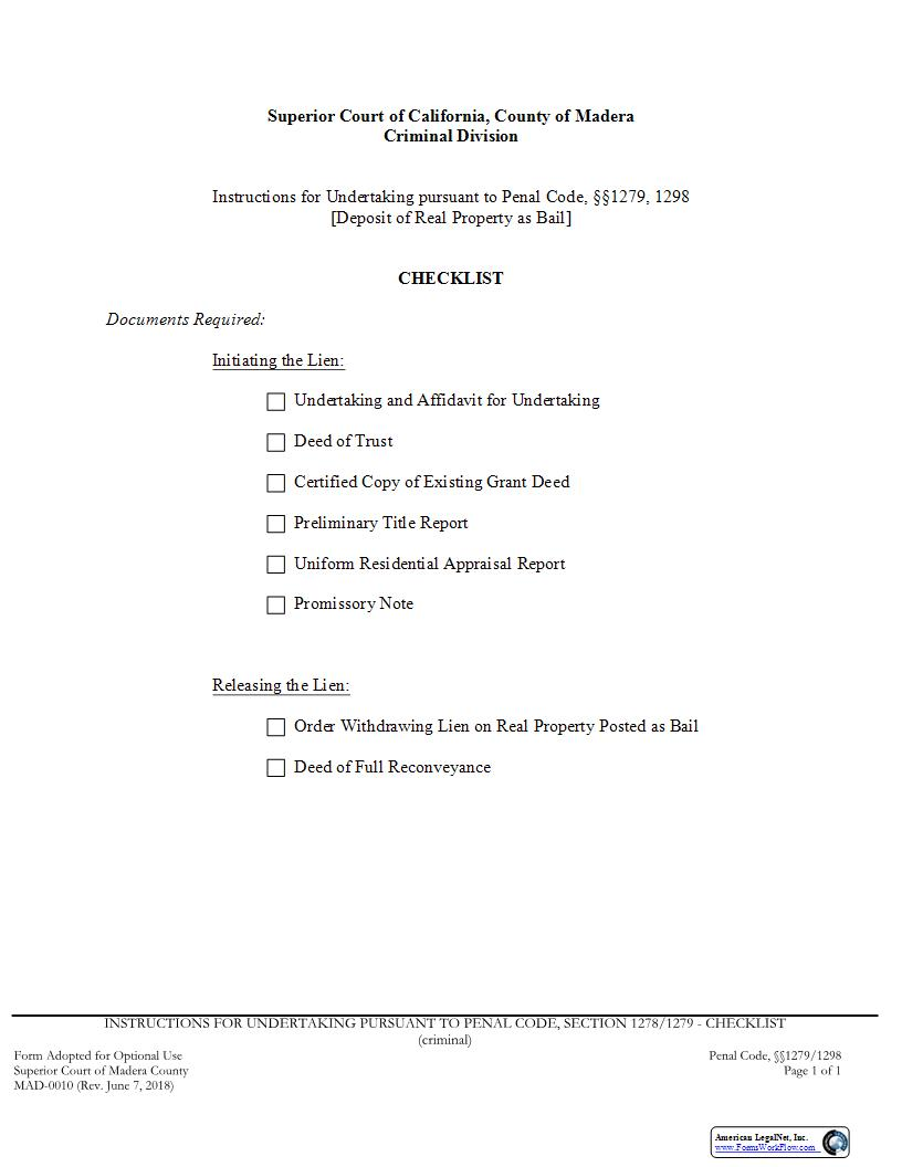 Checklist-Undertaking Pursuant To Penal Code 1279 1298 (Deposit Of Real Property) {MAD-0010} | Pdf Fpdf Docx | California