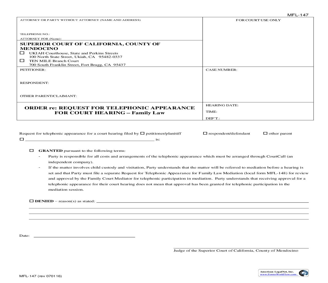 Order Re Request For Telephone Appearance For Evidentiary Hearing {MFL-147} | Pdf Fpdf Doc Docx | California