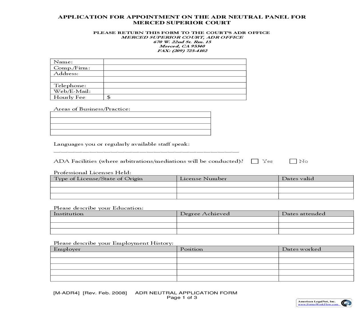 ADR Neutral Application Form {M-ADR4} | Pdf Fpdf Doc Docx | California