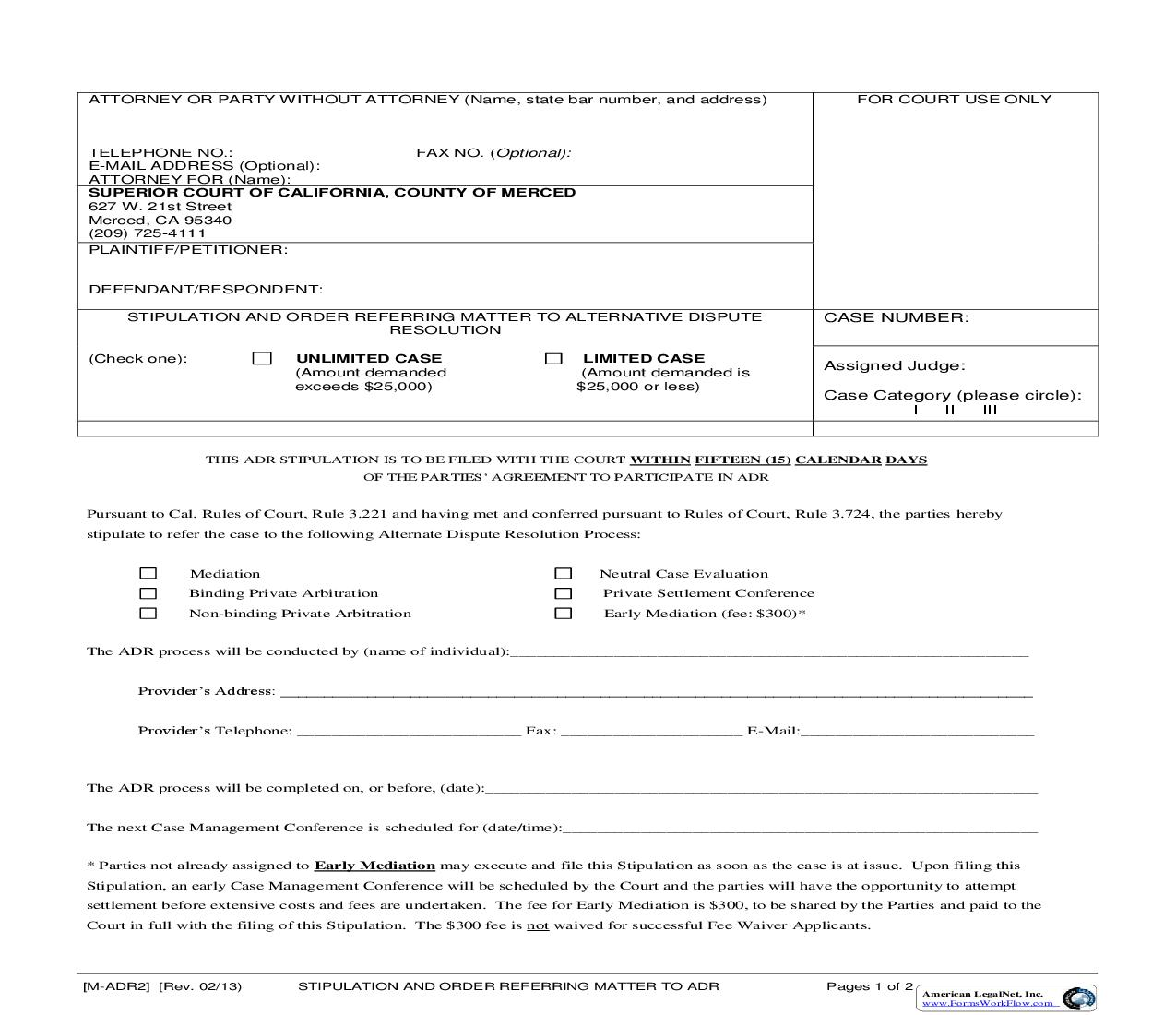 Stipulation And Order Referring Matter To ADR {M-ADR2} | Pdf Fpdf Doc Docx | California