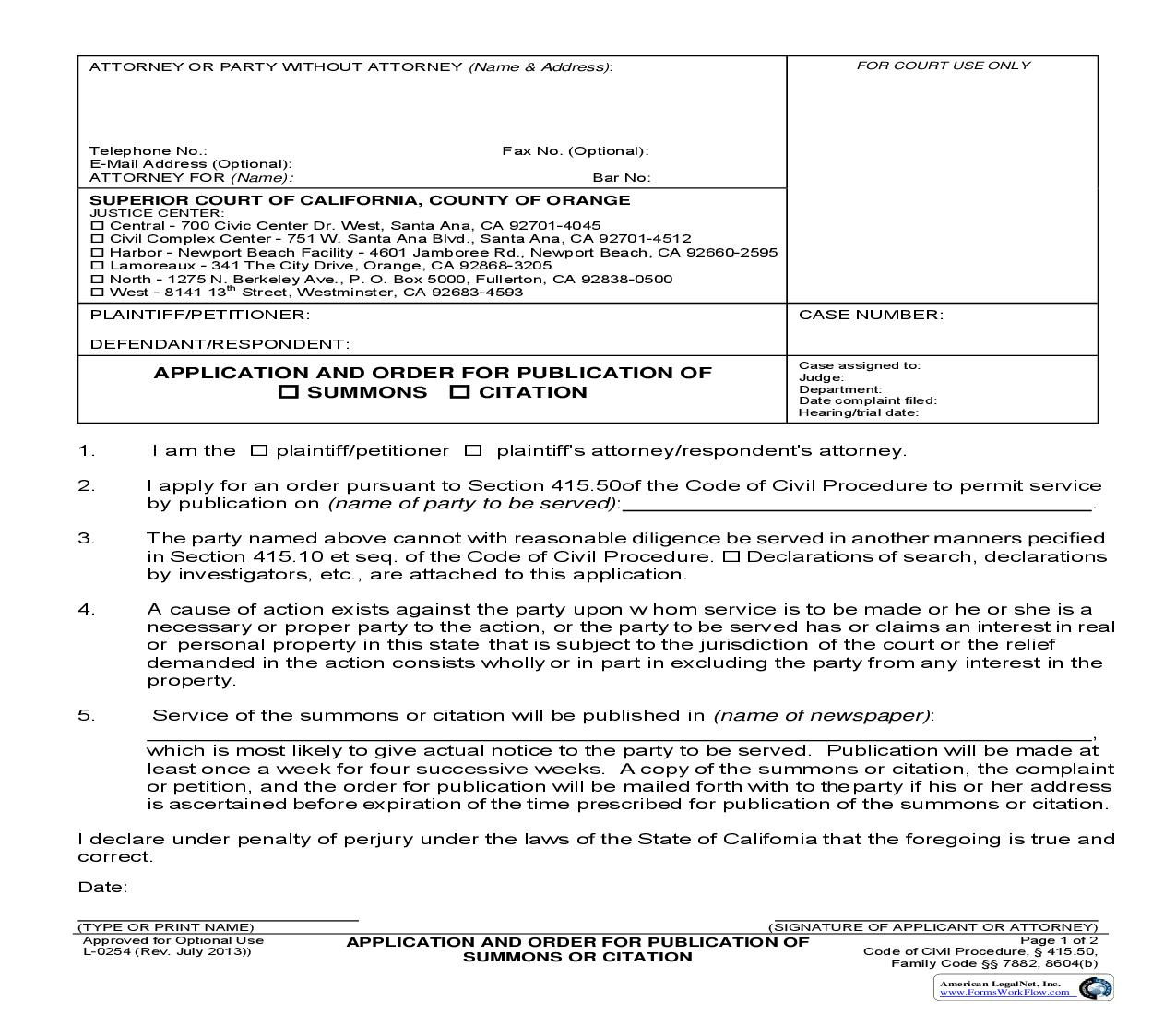 Application And Order For Publication Of Summons Or Citation {L254} | Pdf Fpdf Doc Docx | California