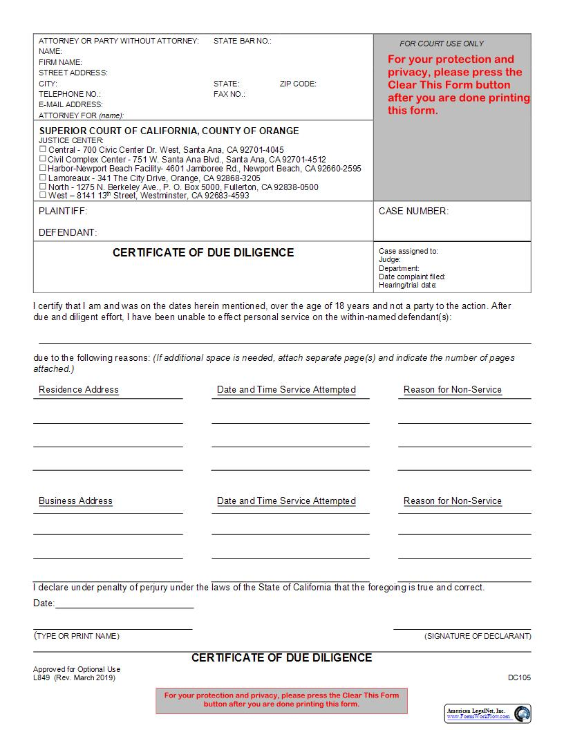 Certificate Of Due Diligence {L849}   Pdf Fpdf Docx   California