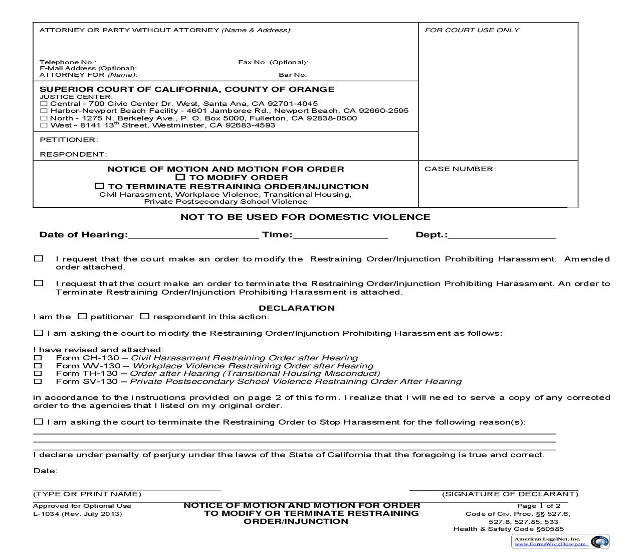 Notice Of Motion And Motion For Order To Modify Or Terminate Injunction {L1034}   Pdf Fpdf Doc Docx   California