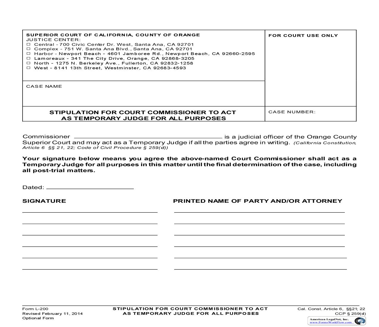 Stipulation For Court Commissioner To Act As Temporary Judge For All Purposes {L-0200} | Pdf Fpdf Doc Docx | California