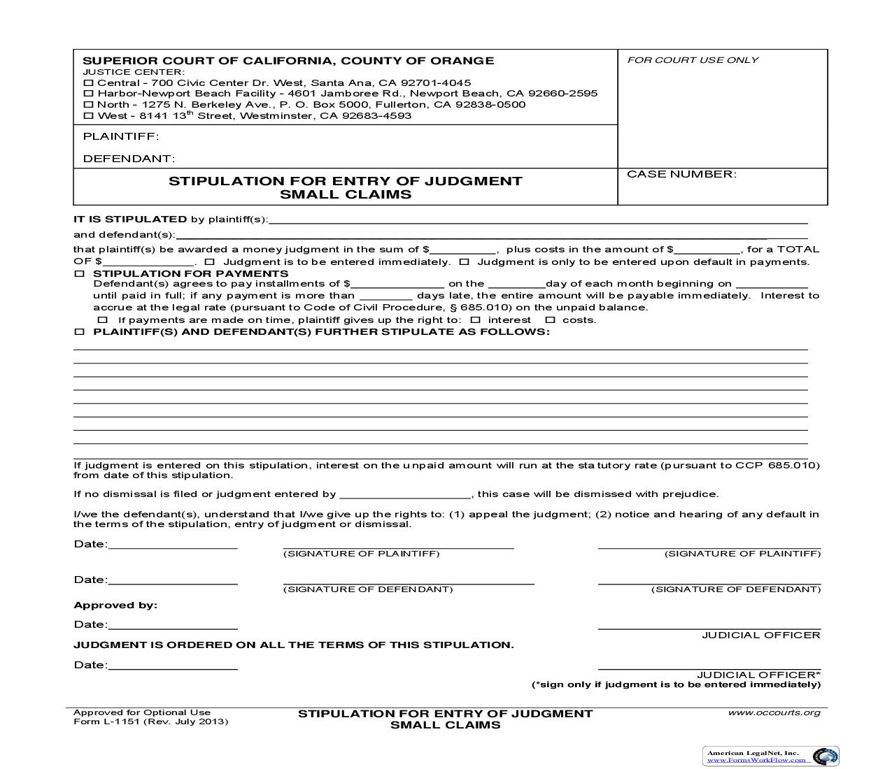 Stipulation For Entry Of Judgment-Small Claims {L1151} | Pdf Fpdf Doc Docx | California