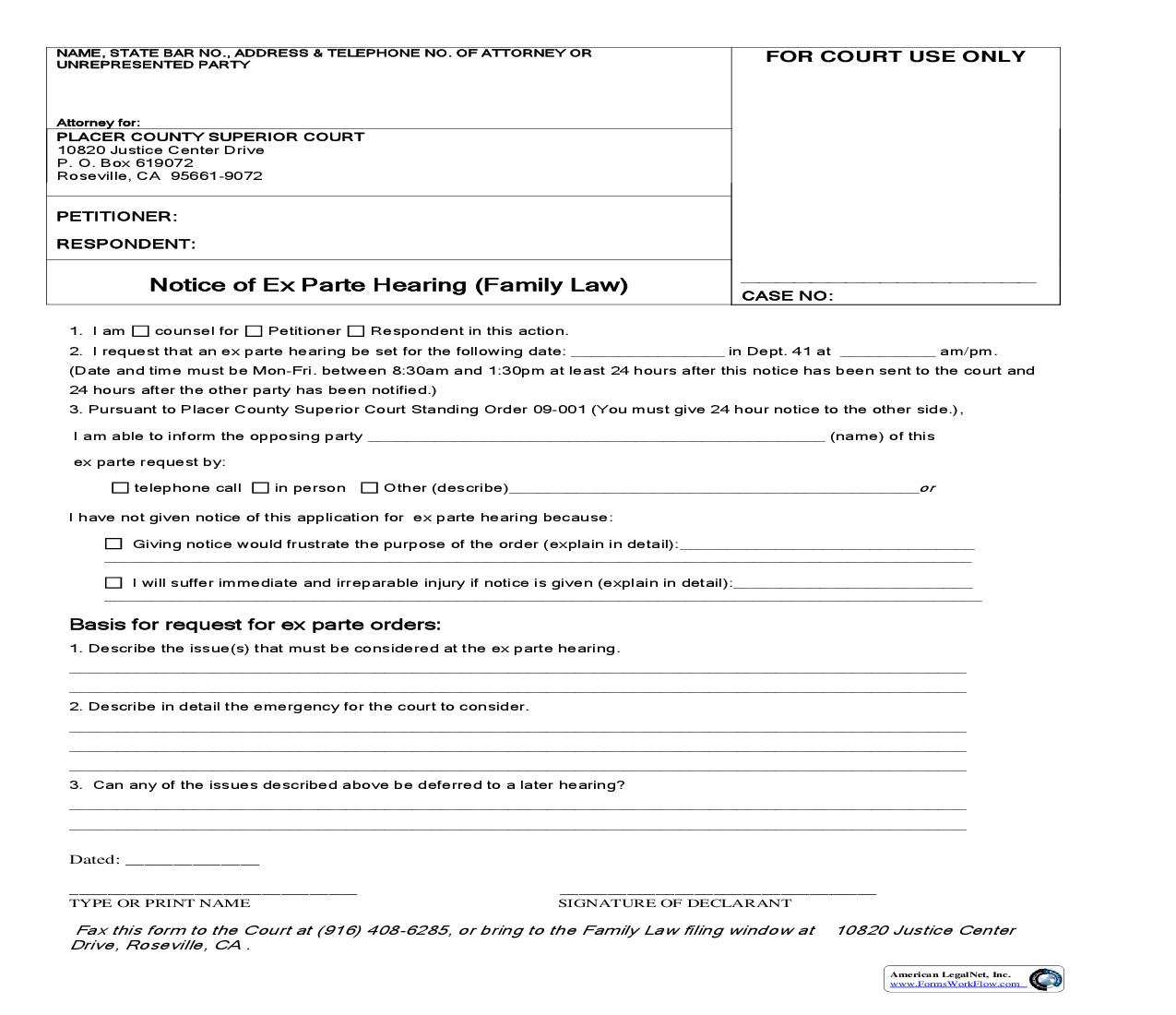 Notice Of Exparte Hearing (Family Law) | Pdf Fpdf Doc Docx | California