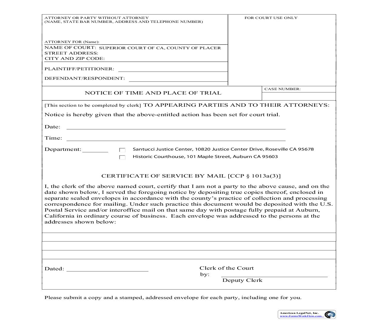 Notice Of Time And Place Of Trial | Pdf Fpdf Doc Docx | California