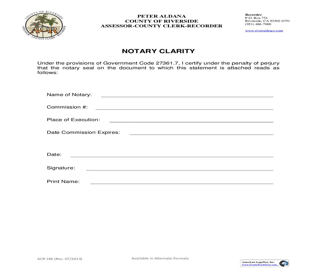 Notary Clarity {ACR 186} | Pdf Fpdf Doc Docx | California
