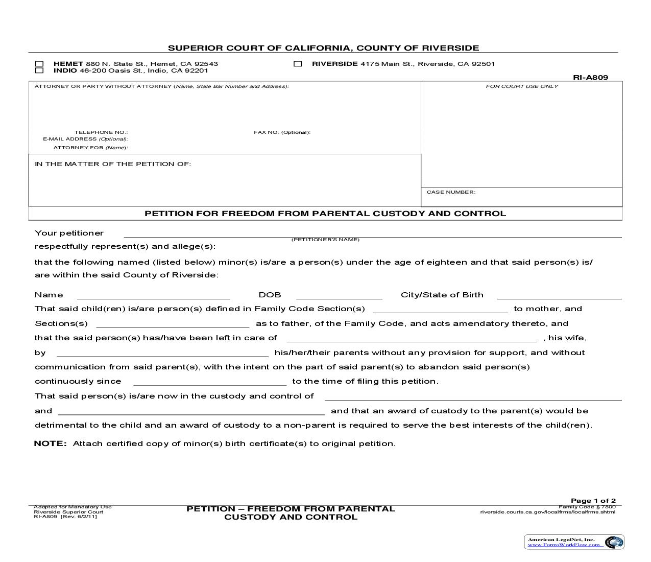 Petition For Freedom From Parental Custody And Control {RI-A809}   Pdf Fpdf Doc Docx   California