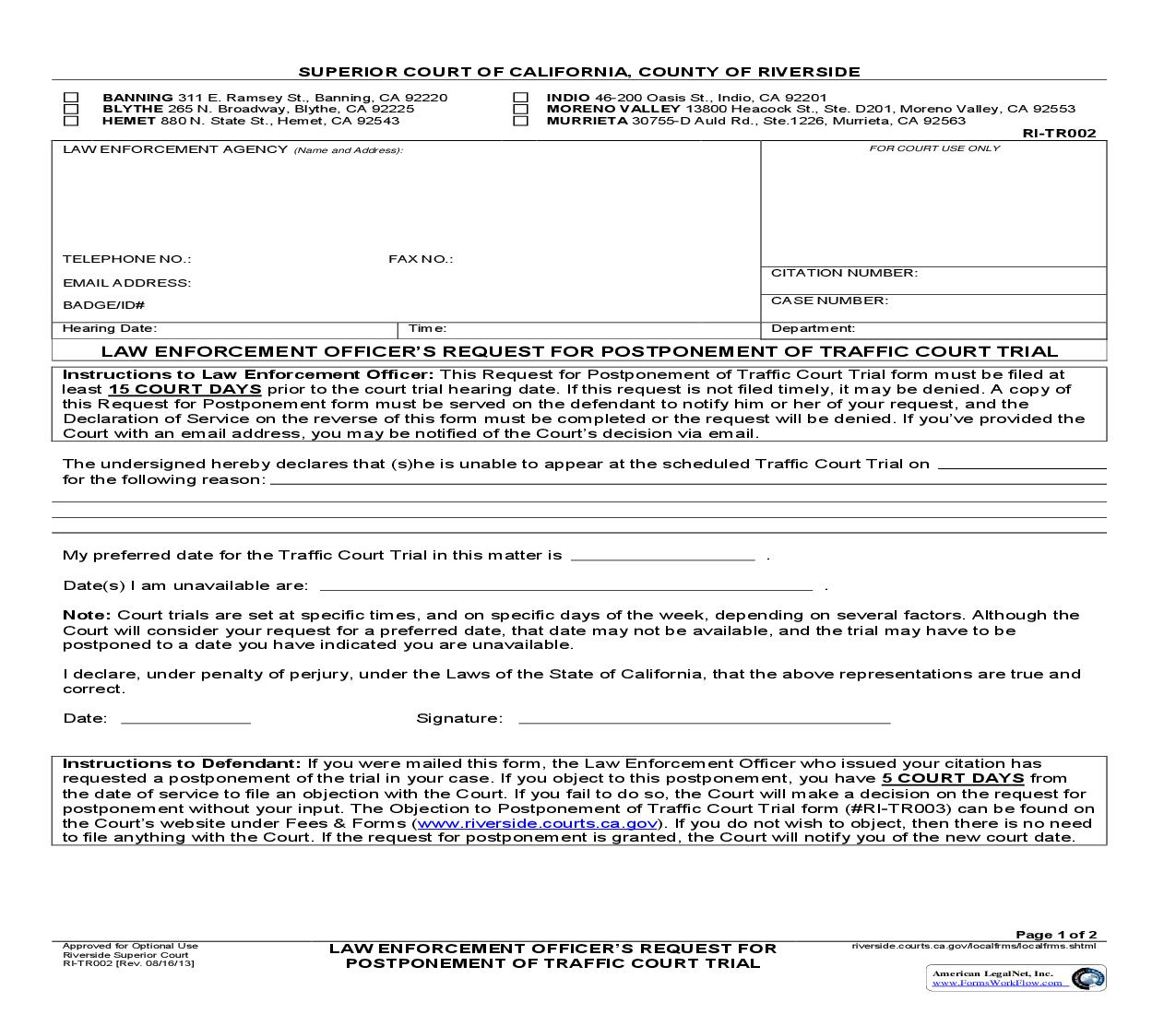 Law Enforcement Officers Request For Postponement Of Traffic Court Trial {RI-TR02} | Pdf Fpdf Doc Docx | California