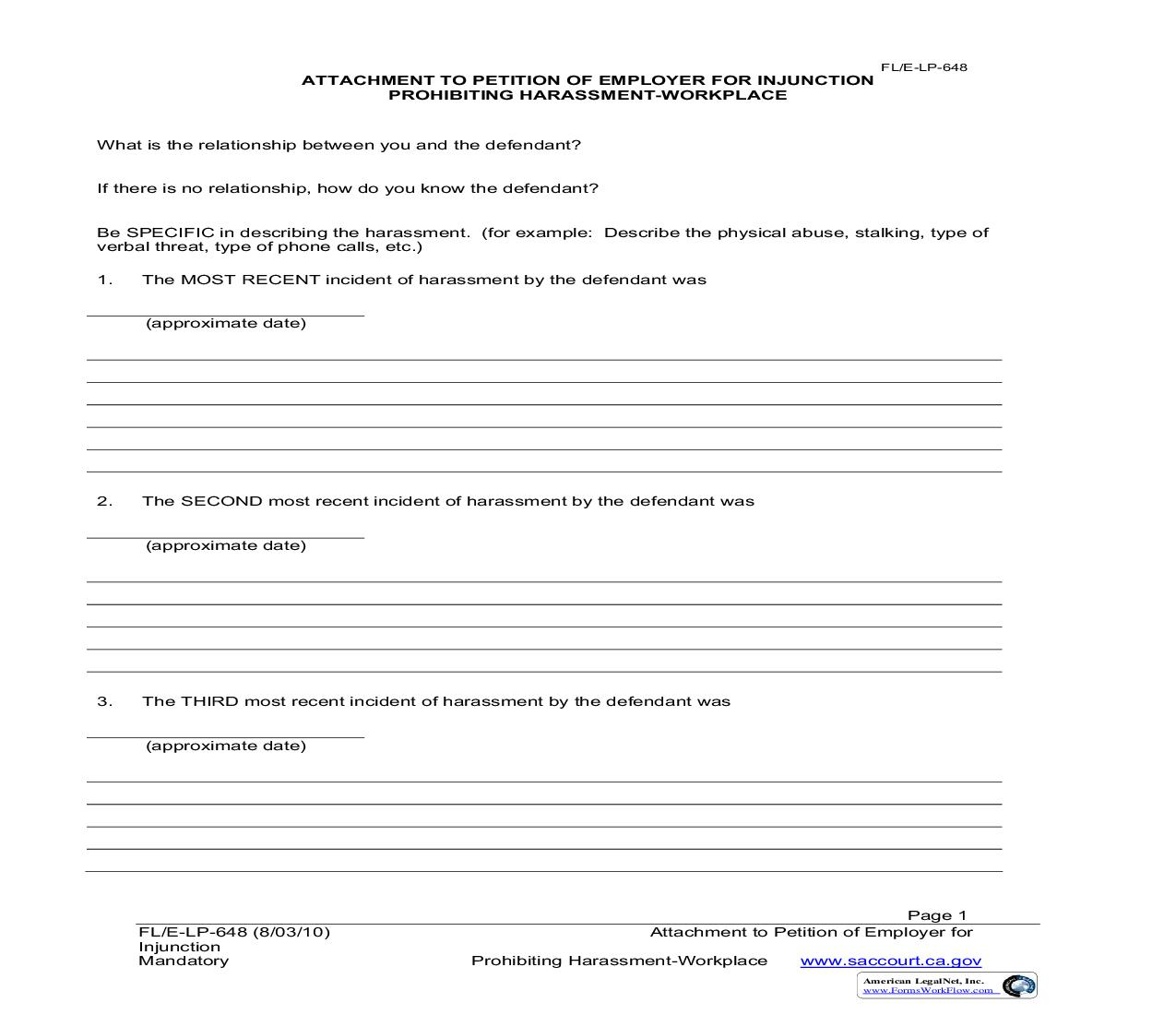 Attachment To Petition Of Employer For Injunction {FL-E-LP-648} | Pdf Fpdf Doc Docx | California