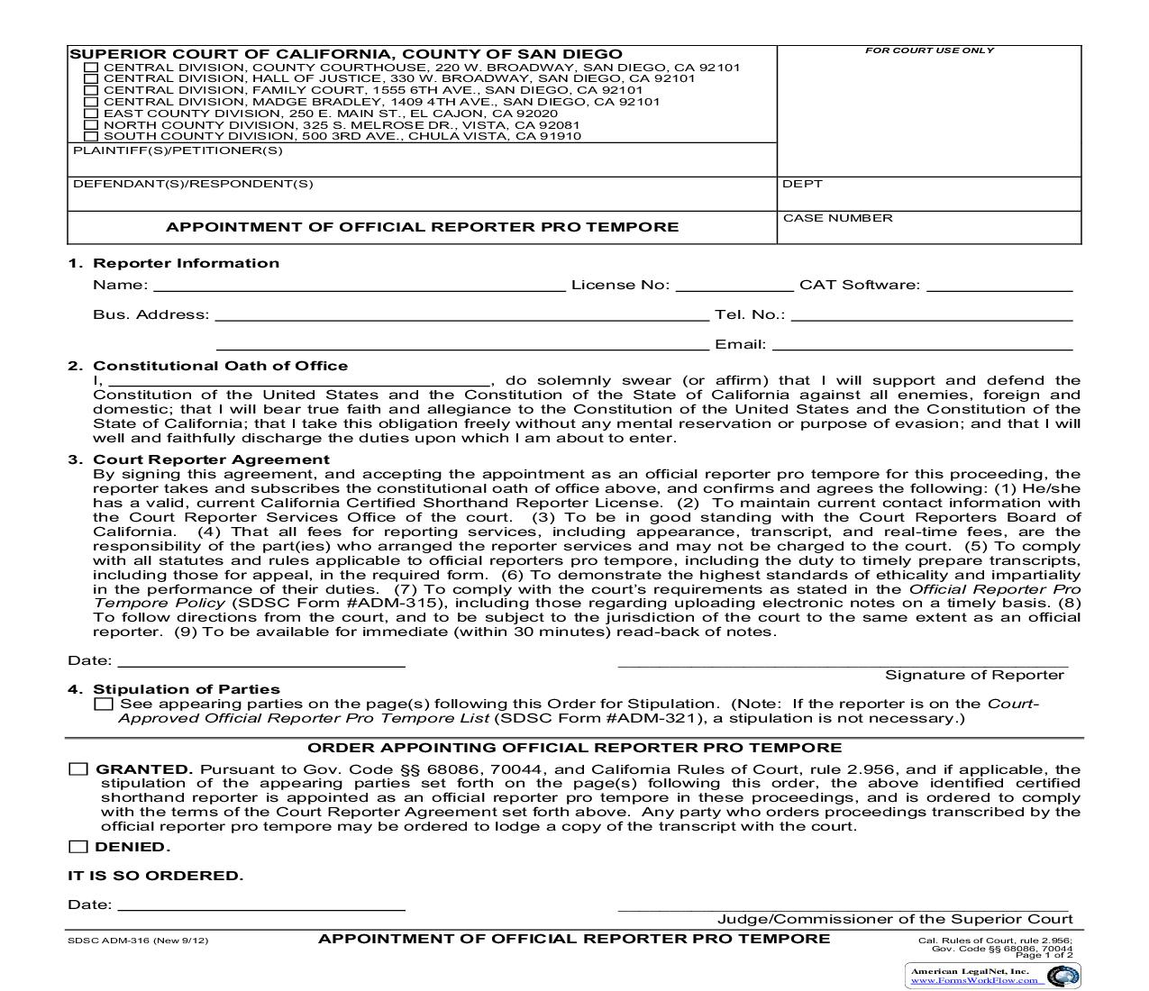 Appointment Of Official Reporter Pro Tempore {ADM-316} | Pdf Fpdf Doc Docx | California