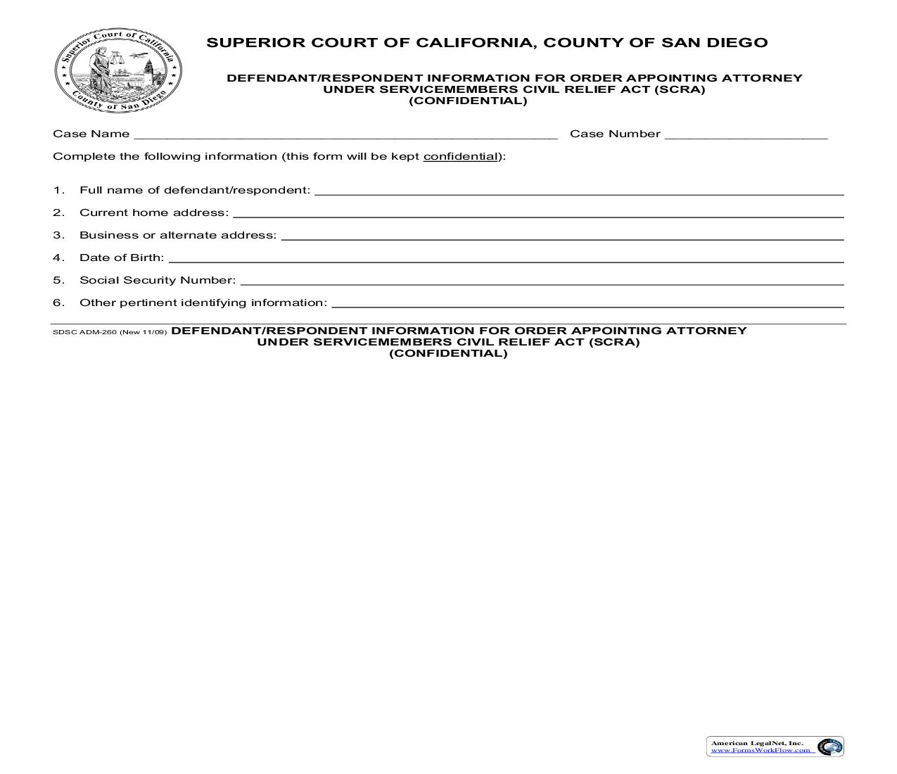 Defendant-Respondent Information For Order Appointing Attorney Under Servicemembers Civil Relief Act {ADM-260} | Pdf Fpdf Doc Docx | California