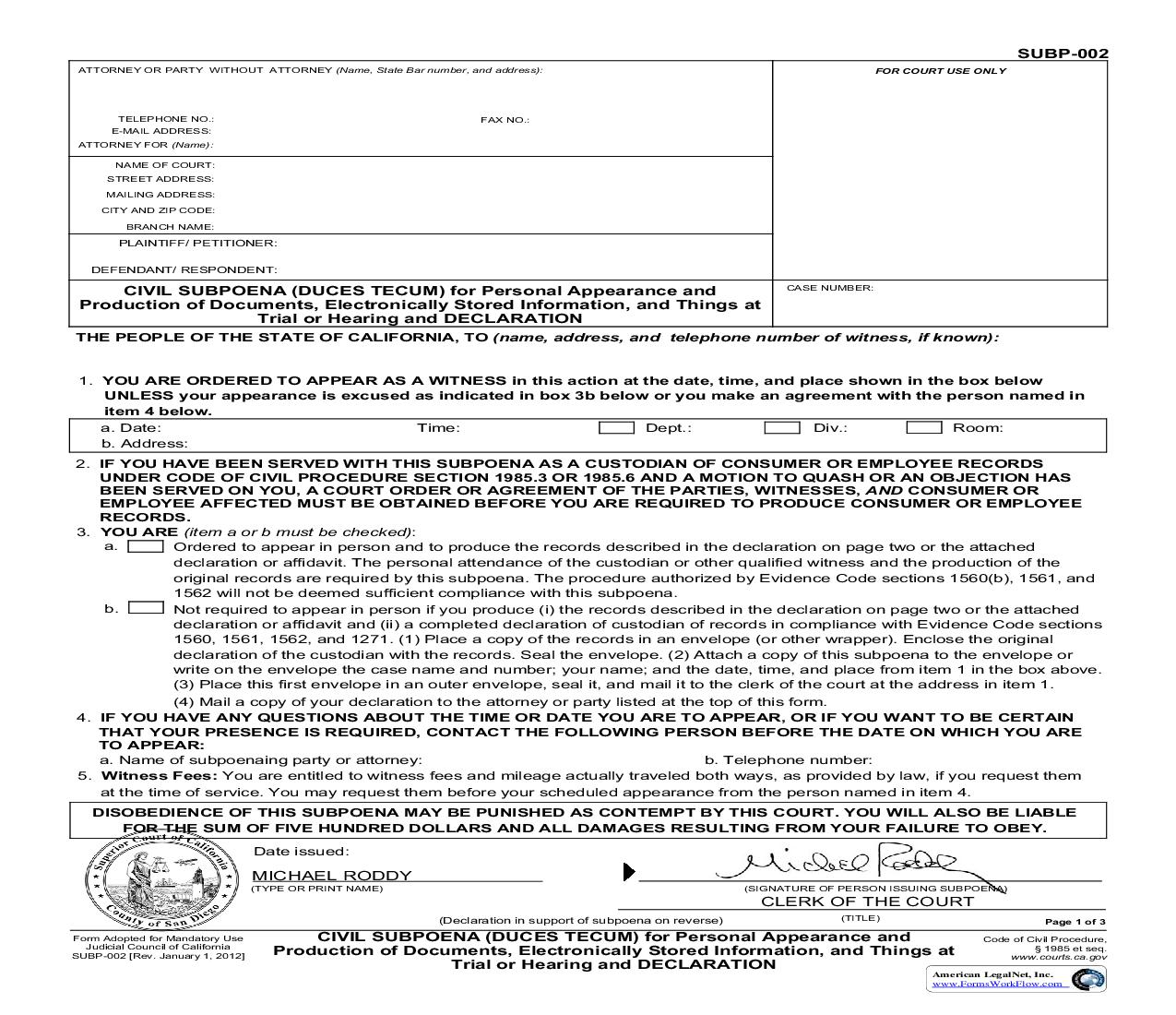 Civil Subpoena (Dues Tecum) For Personal Appearance (San Diego Pre-Issued) {SUBP-002} | Pdf Fpdf Doc Docx | California