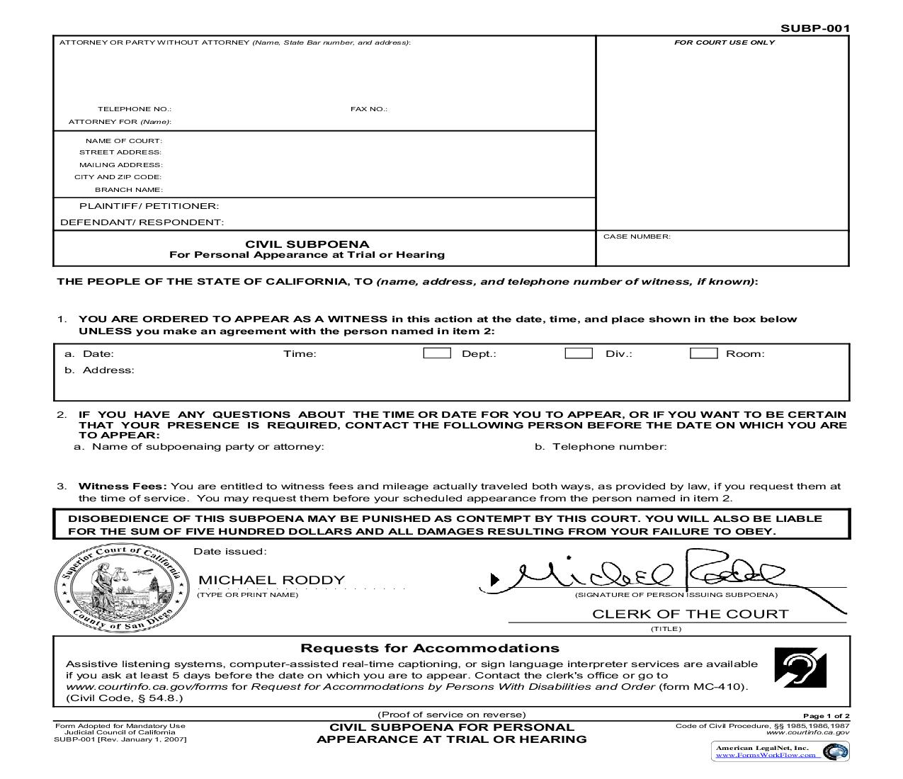 Civil Subpoena For Personal Appearance (San Diego Pre-Issued) {SUBP-001} | Pdf Fpdf Doc Docx | California