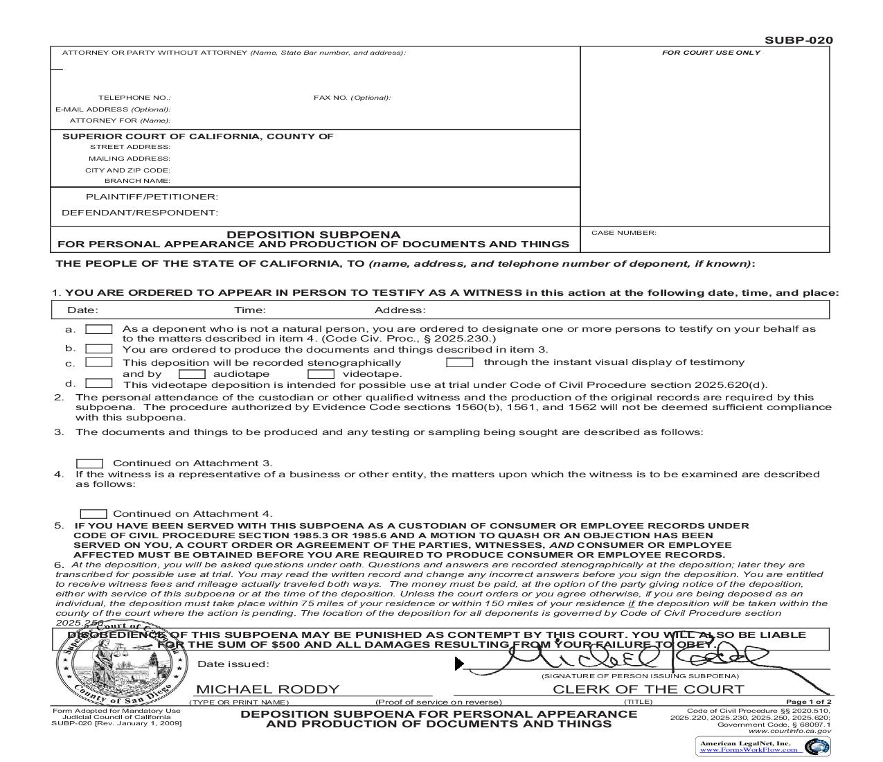 Deposition Subpoena For Personal Appearance And Production Of Documents (San Diego Pre-Issued) {SUBP-020} | Pdf Fpdf Doc Docx | California