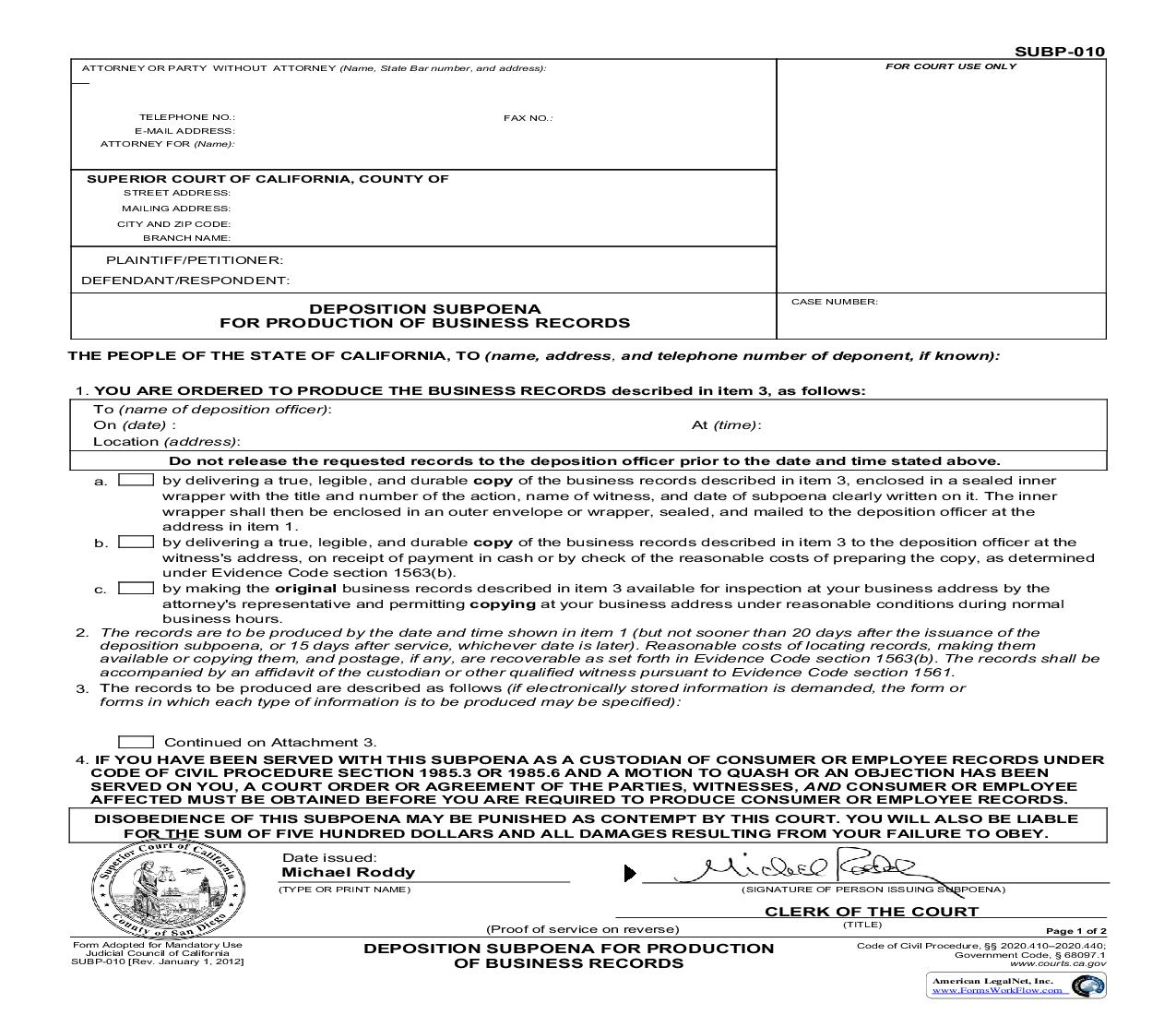 Deposition Subpoena For Production Of Business Records (San Diego Pre-Issued) {SUBP-010} | Pdf Fpdf Doc Docx | California