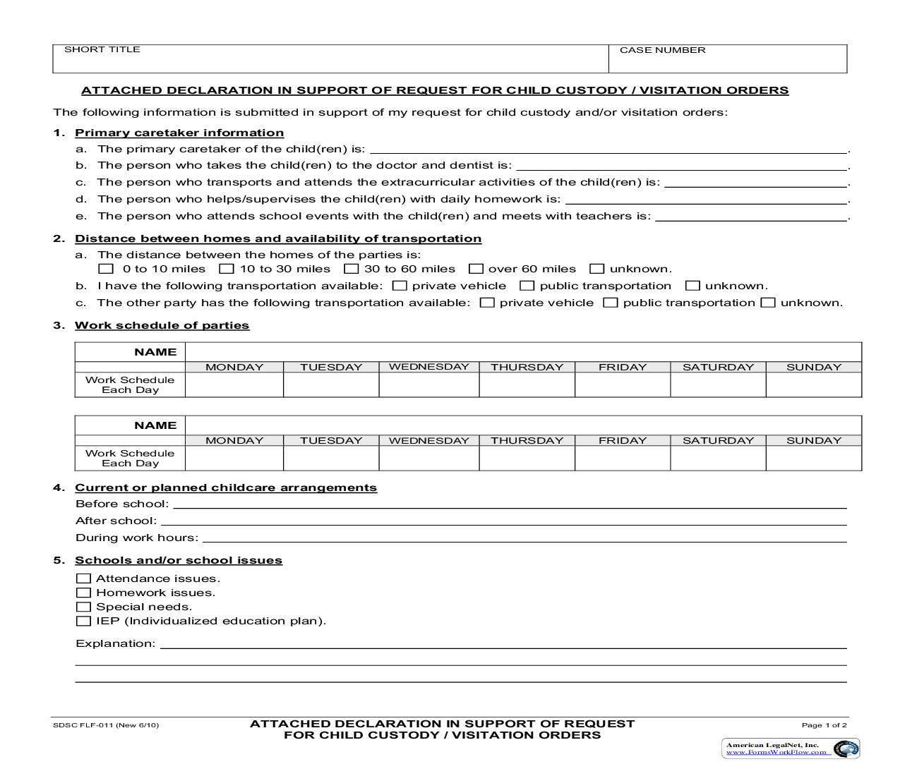 Attached Declaration In Support Of Request For Child Custody-Visitation Orders {FLF-011}   Pdf Fpdf Doc Docx   California