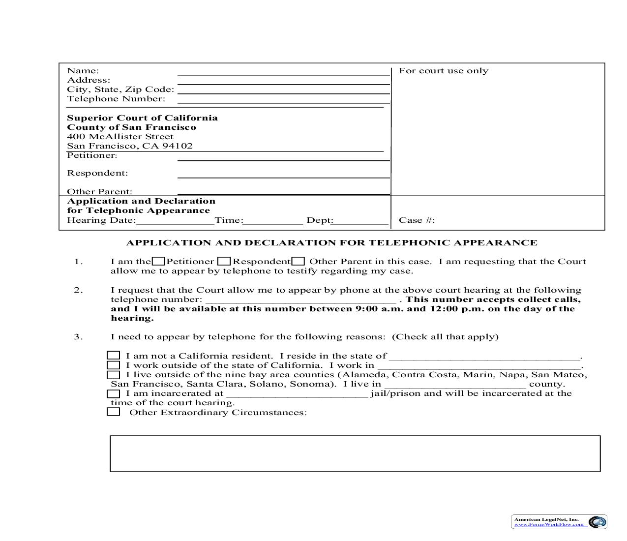 Application And Declaration For Telephonic Appearance (Family Law-11.7D(1)) | Pdf Fpdf Doc Docx | California