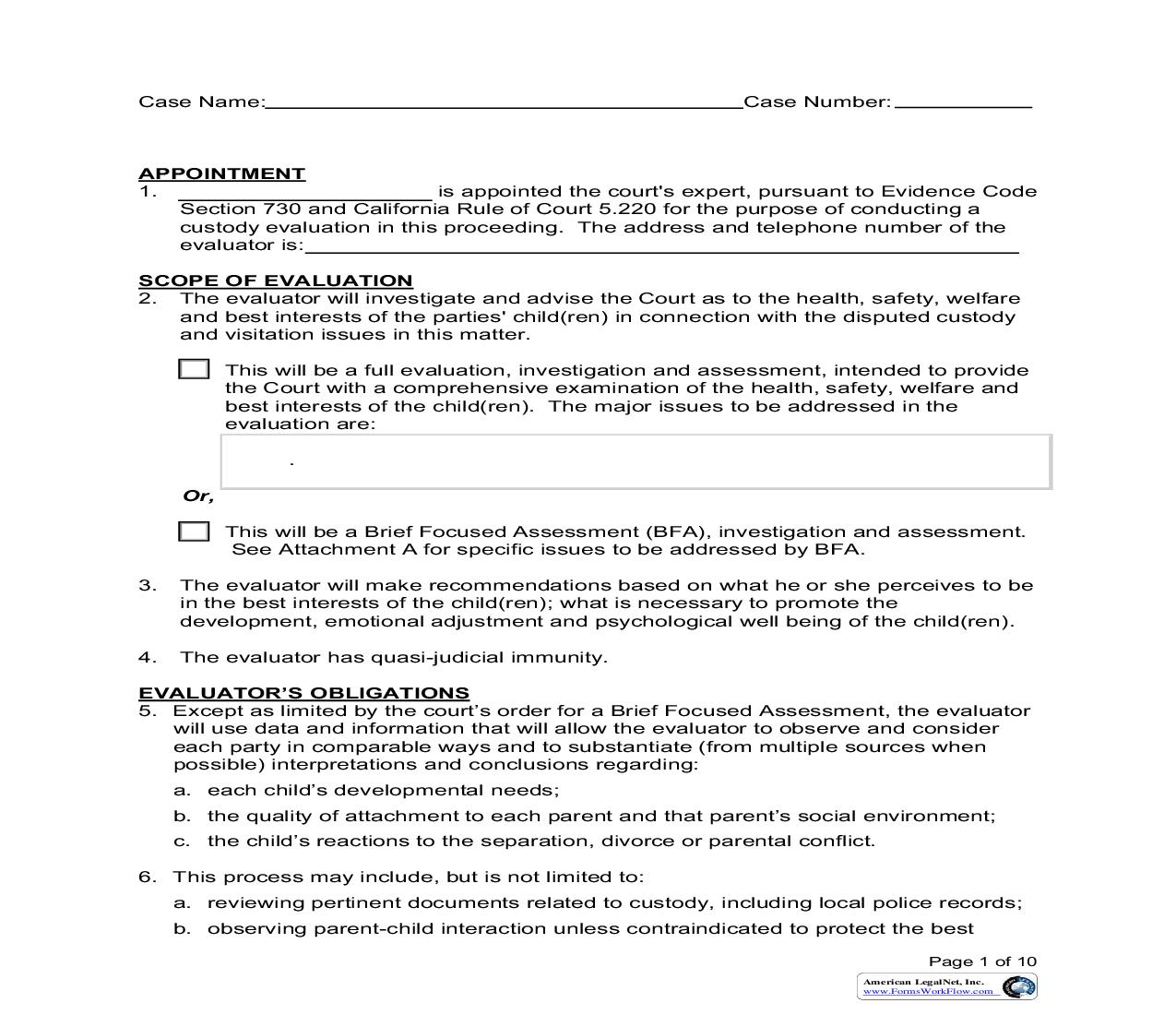 Child Custody Evaluation Order (Family Law-11.16F) | Pdf Fpdf Doc Docx | California