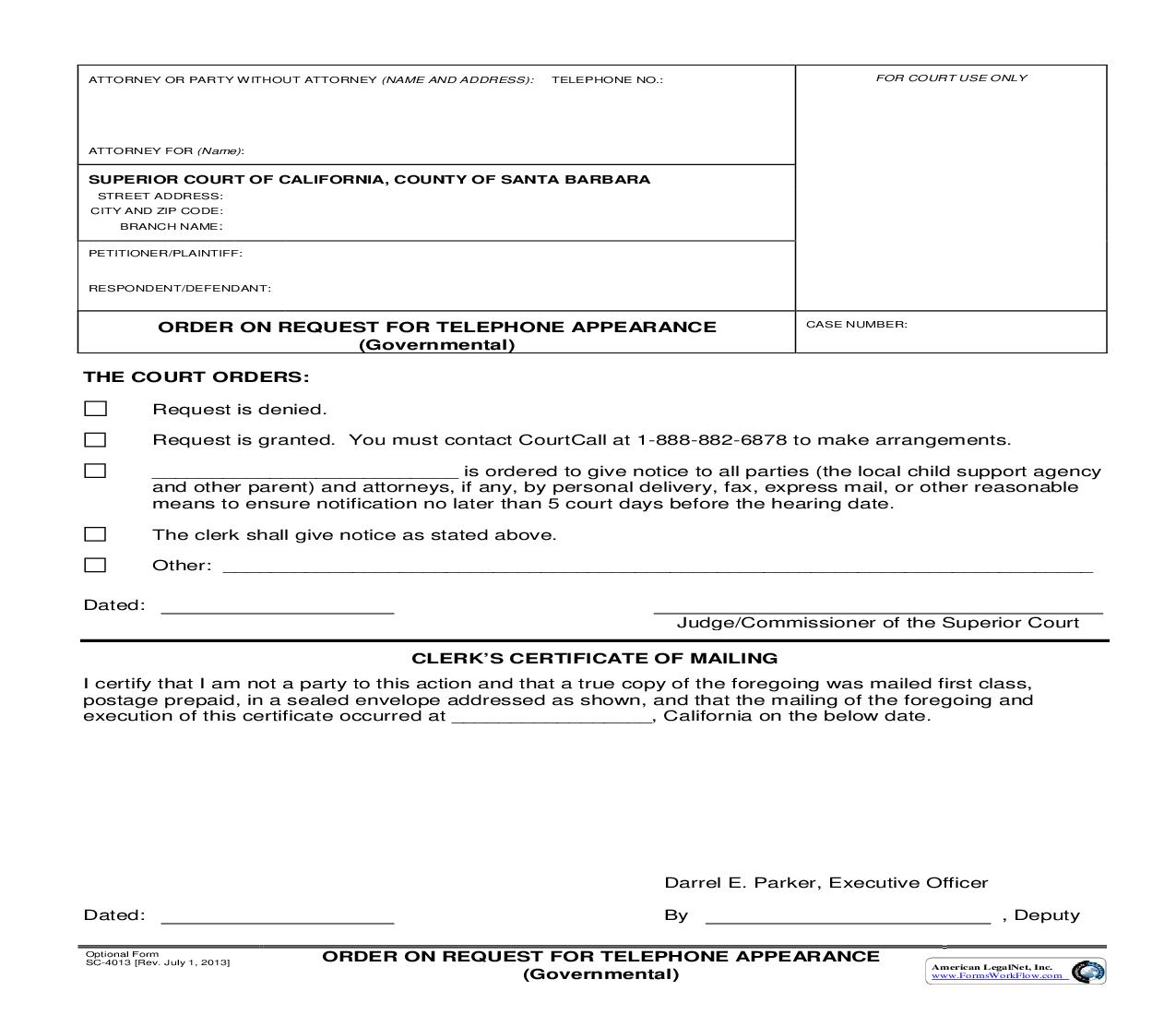 Order On Request For Telephone Appearance (Governmental) {SC-4013} | Pdf Fpdf Doc Docx | California