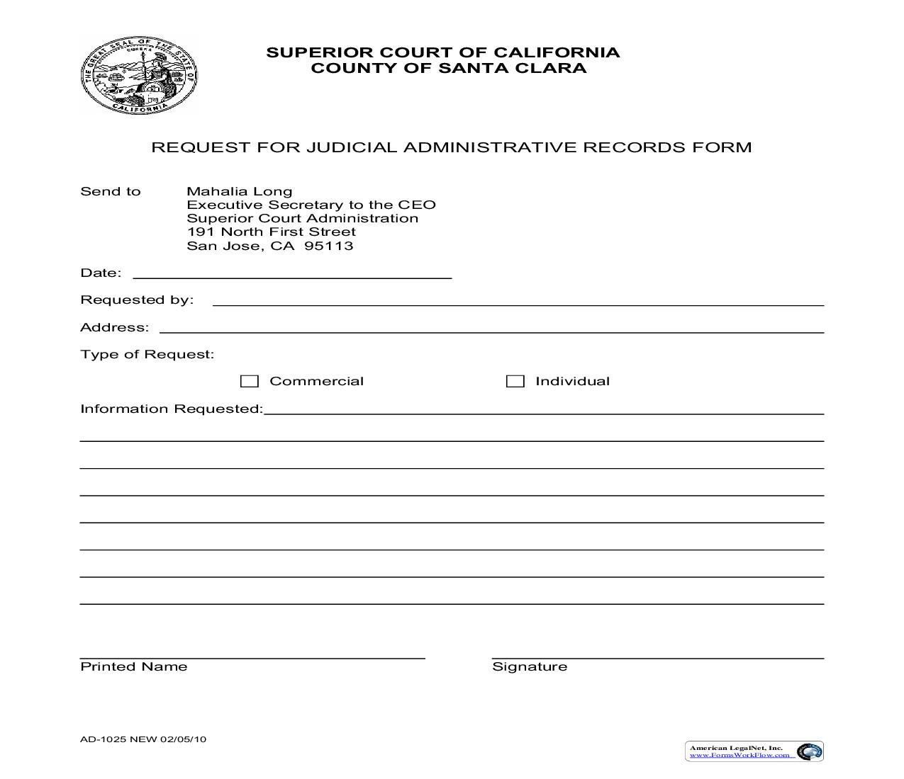 Judicial Administrative Records Request Form {AD-1025} | Pdf Fpdf Doc Docx | California