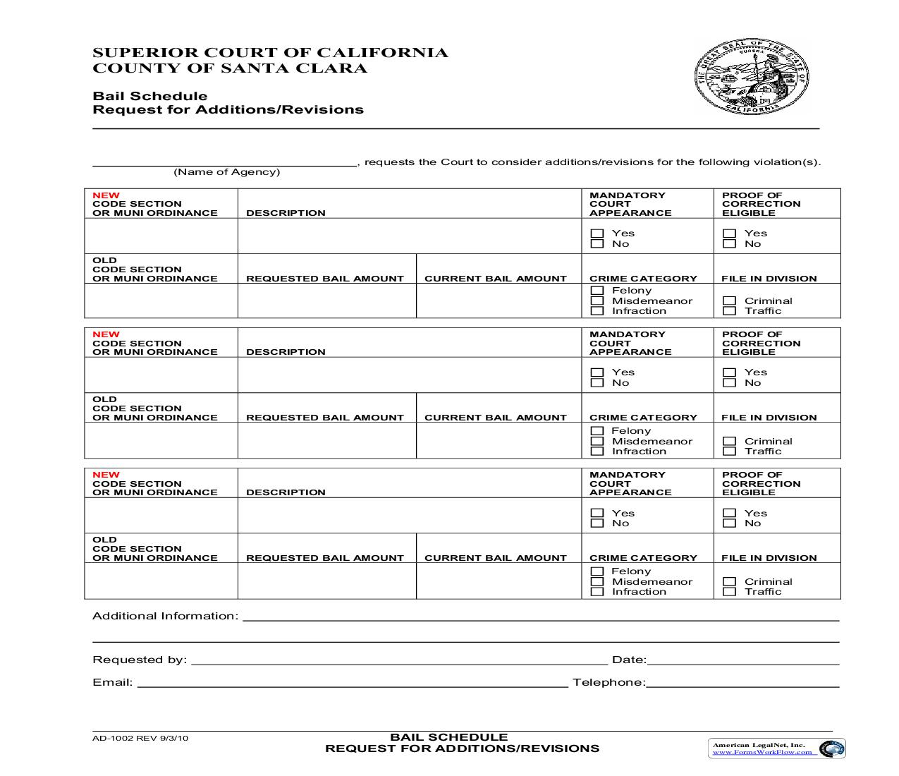 Bail Schedule Request For Additions-Revisions {AD-1002} | Pdf Fpdf Doc Docx | California