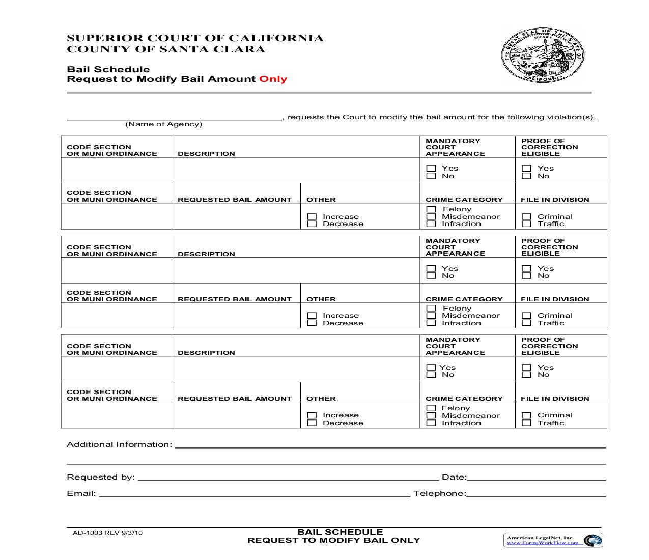 Bail Schedule Request To Modify Bail Only {AD-1003} | Pdf Fpdf Doc Docx | California