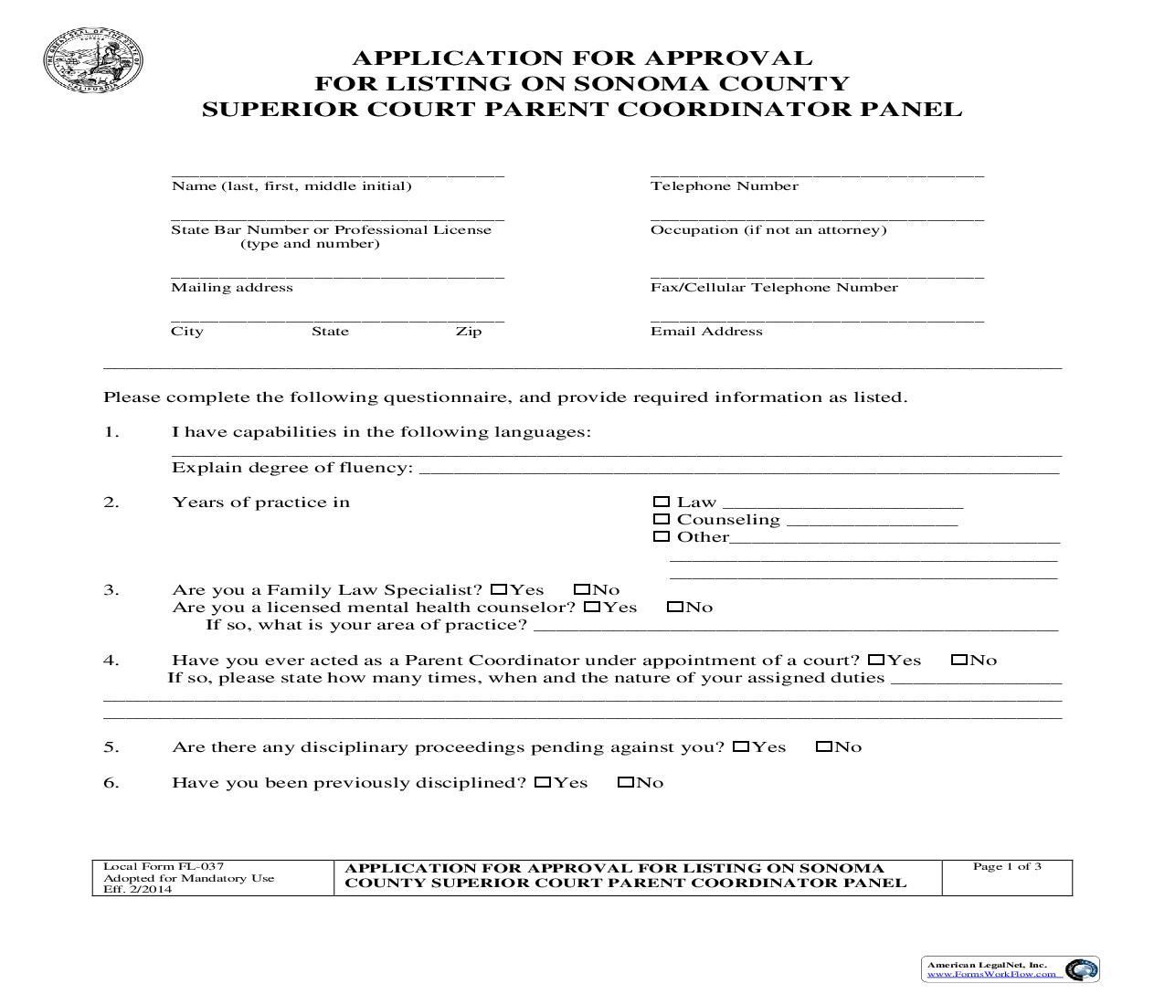 Application For Approval For Listing On Sonoma County Court Parent Coordinator Panel {FL-037} | Pdf Fpdf Doc Docx | California