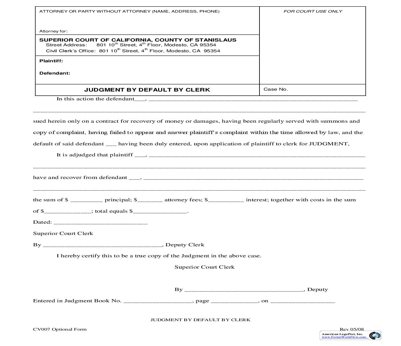 Judgment By Default By Clerk {CV007} | Pdf Fpdf Doc Docx | California