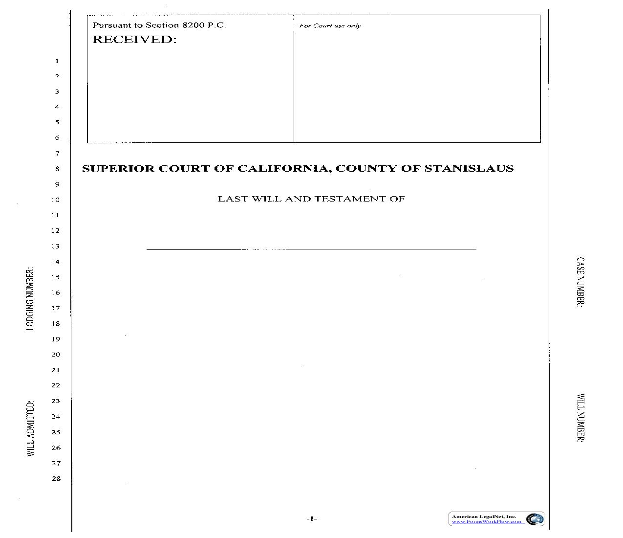 Cover Sheet For Lodging Wills | Pdf Fpdf Doc Docx | California