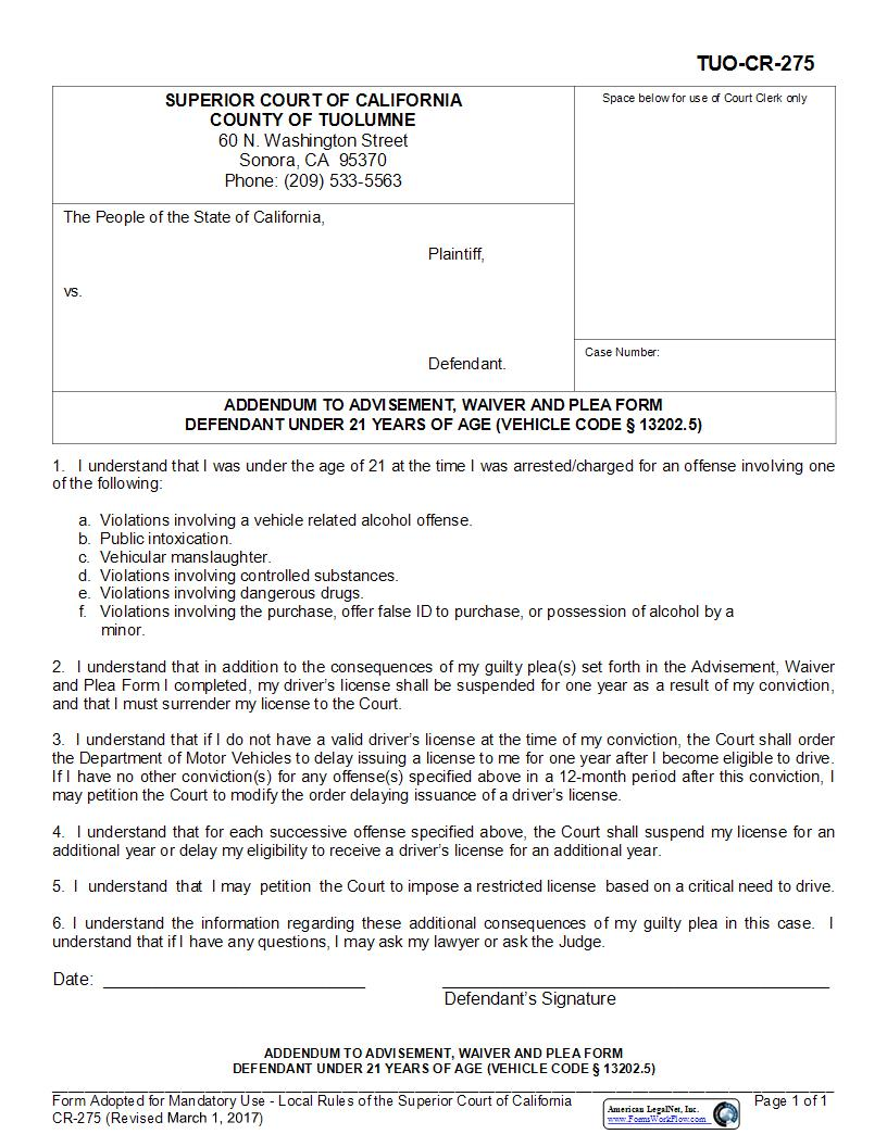 Addendum To Advisement Waiver And Plea Form Defendant Under 21 {TUO-CR-275} | Pdf Fpdf Docx | California