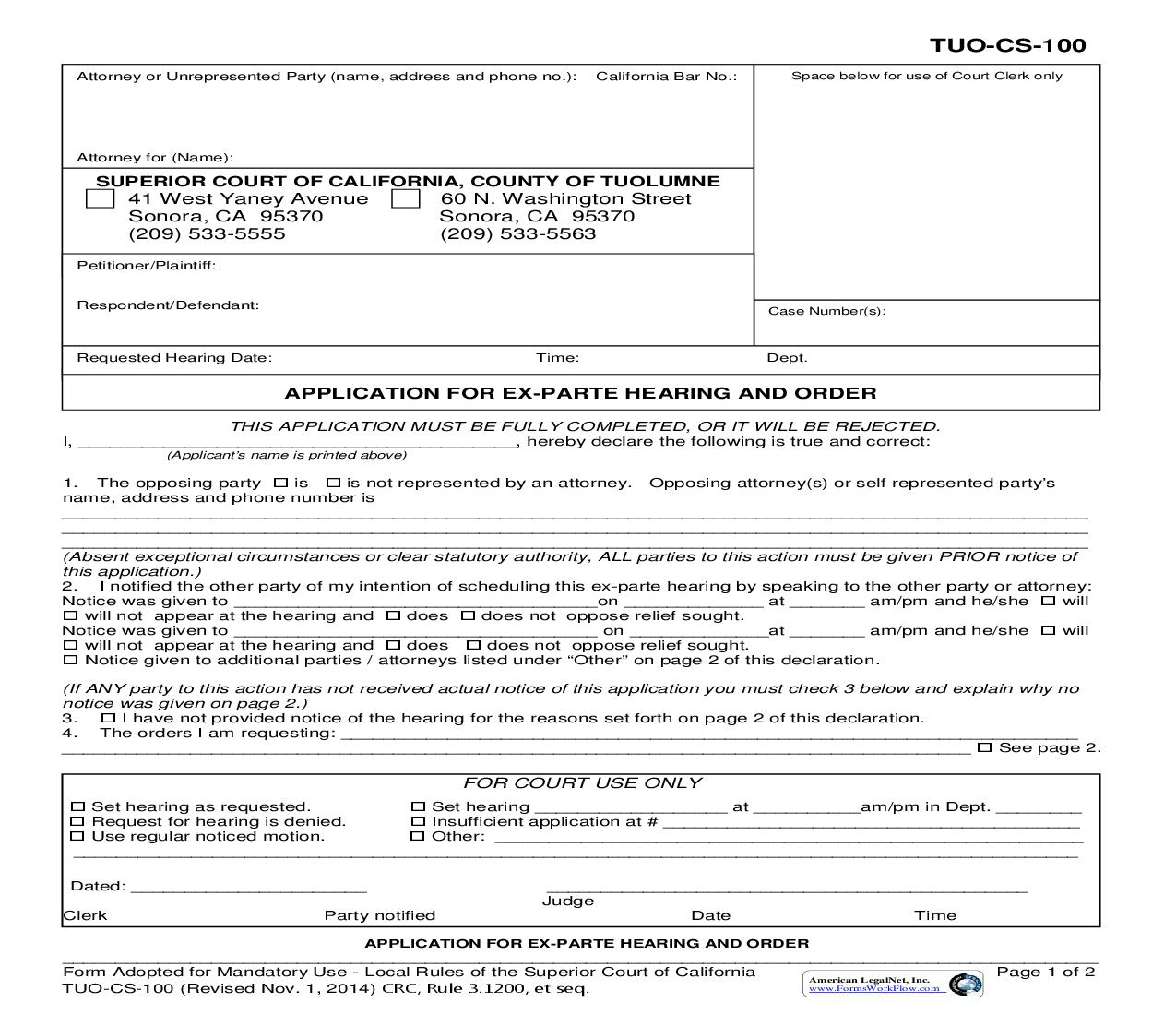 Application For Ex-Parte Hearing And Order {TUO-CS-100}   Pdf Fpdf Doc Docx   California