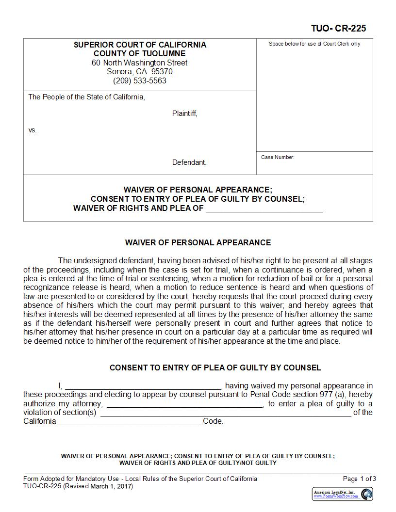 Waiver Of Personal Appearance Consent To Entry Of Plea Of Guilty {TUO-CR-225} | Pdf Fpdf Docx | California
