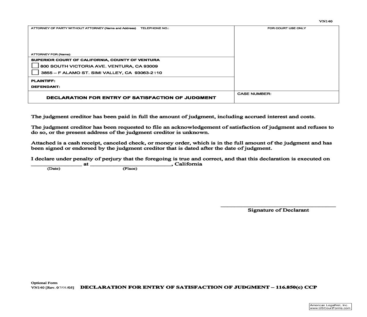 Declaration For Entry Of Satisfaction Of Judgment {VN140} | Pdf Fpdf Doc Docx | California