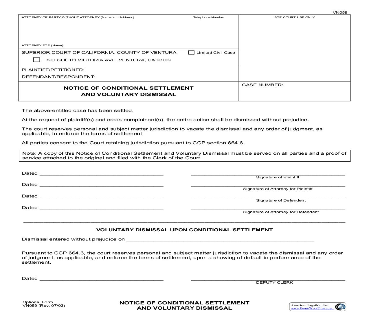 Notice Of Conditional Settlement And Voluntary Dismissal {VN059} | Pdf Fpdf Doc Docx | California