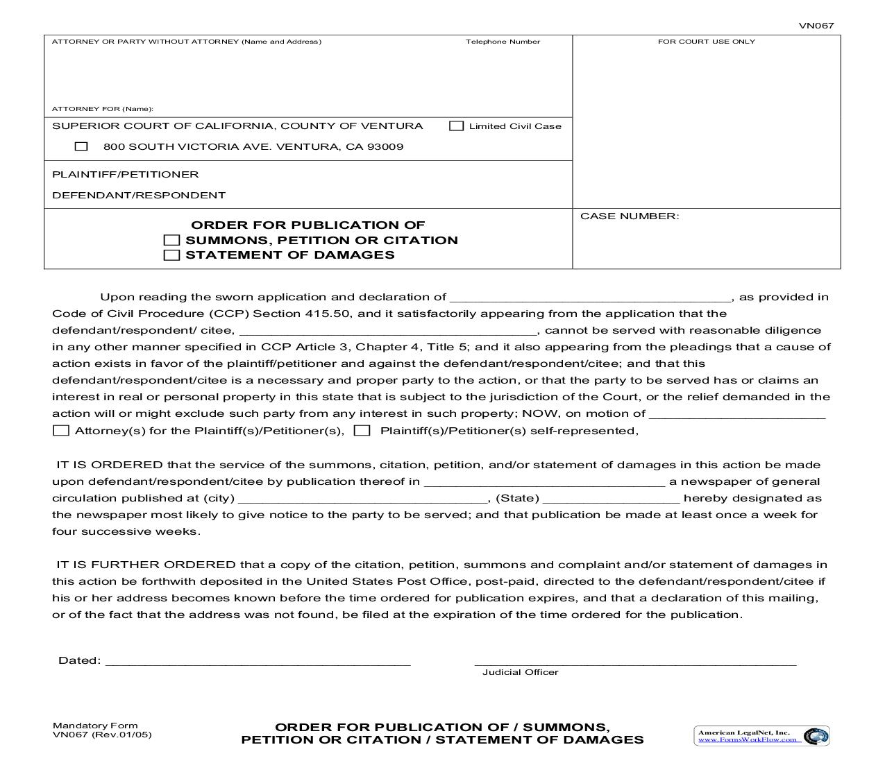 Order For Publication Of Summons Or Citation {VN067}   Pdf Fpdf Doc Docx   California